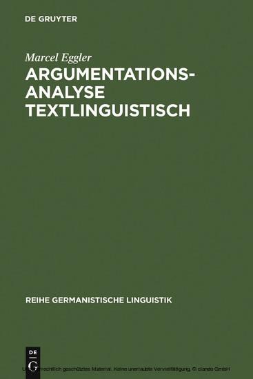 Argumentationsanalyse textlinguistisch - Blick ins Buch