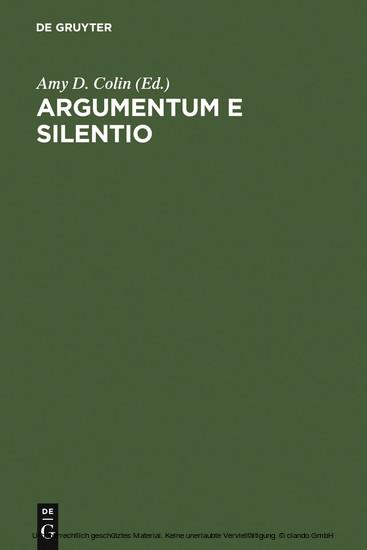 Argumentum e Silentio - Blick ins Buch
