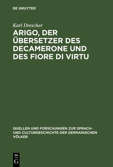Arigo, der Übersetzer des Decamerone und des Fiore di Virtu - Blick ins Buch