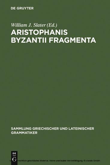 Aristophanis Byzantii Fragmenta - Blick ins Buch