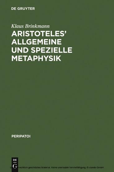 Aristoteles' allgemeine und spezielle Metaphysik - Blick ins Buch