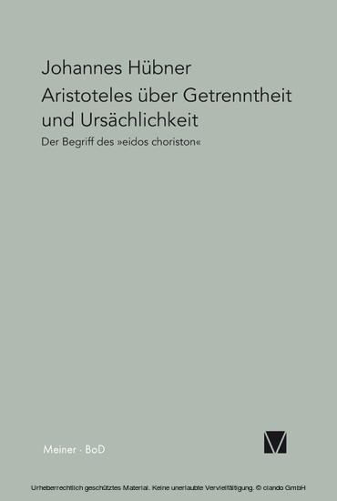 Aristoteles über Getrenntheit und Ursächlichkeit - Blick ins Buch