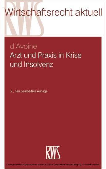 Arzt und Praxis in Krise und Insolvenz - Blick ins Buch