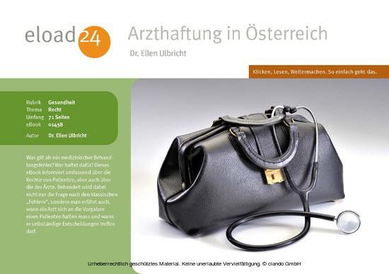 Arzthaftung in Österreich - Blick ins Buch