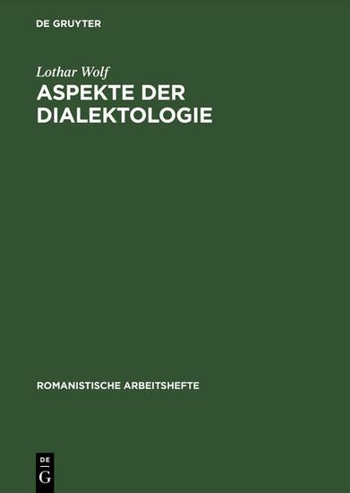 Aspekte der Dialektologie - Blick ins Buch