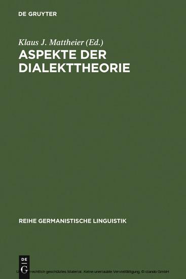 Aspekte der Dialekttheorie - Blick ins Buch