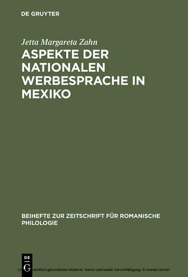 Aspekte der nationalen Werbesprache in Mexiko - Blick ins Buch