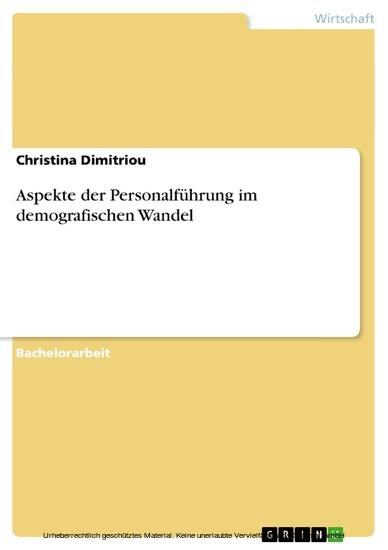 Aspekte der Personalführung im demografischen Wandel - Blick ins Buch
