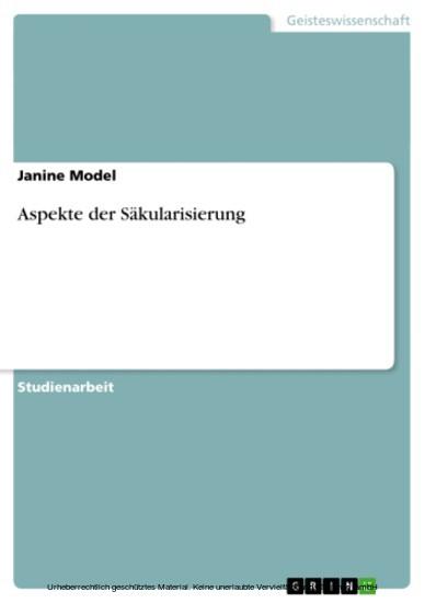 Aspekte der Säkularisierung - Blick ins Buch