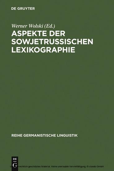 Aspekte der sowjetrussischen Lexikographie - Blick ins Buch