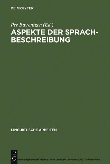 Aspekte der Sprachbeschreibung - Blick ins Buch