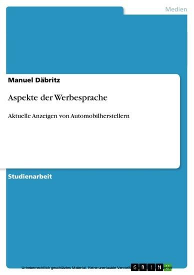 Aspekte der Werbesprache - Blick ins Buch
