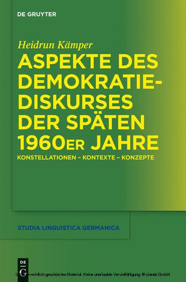 Aspekte des Demokratiediskurses der späten 1960er Jahre - Blick ins Buch