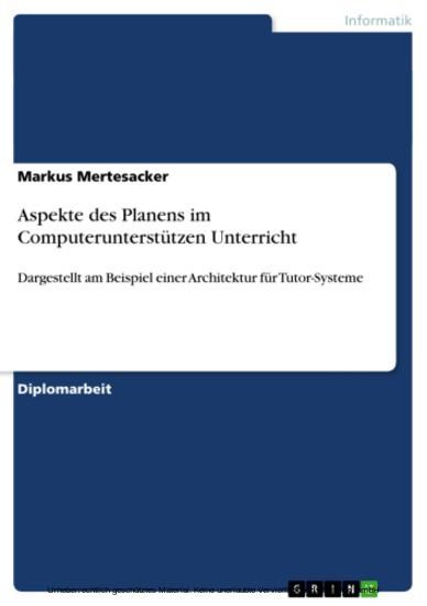 Aspekte des Planens im Computerunterstützen Unterricht - Blick ins Buch