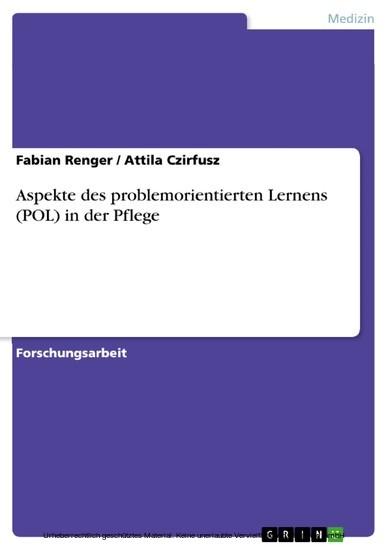 Aspekte des problemorientierten Lernens (POL) in der Pflege - Blick ins Buch