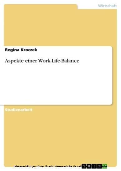 Aspekte einer Work-Life-Balance - Blick ins Buch