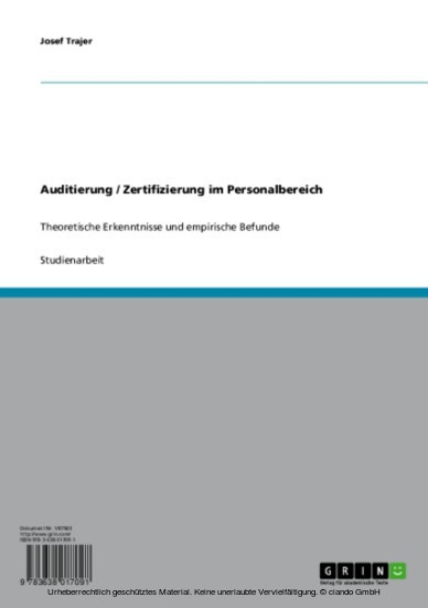 Auditierung / Zertifizierung im Personalbereich - Blick ins Buch