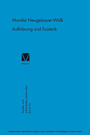 Aufklärung und Esoterik - Blick ins Buch