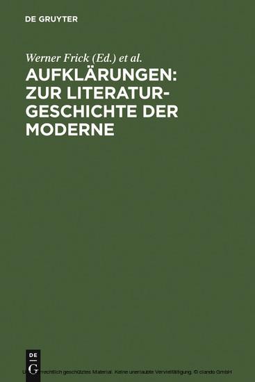 Aufklärungen: Zur Literaturgeschichte der Moderne - Blick ins Buch