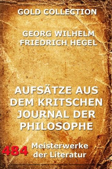 Aufsätze aus dem kritischen Journal der Philosophie - Blick ins Buch