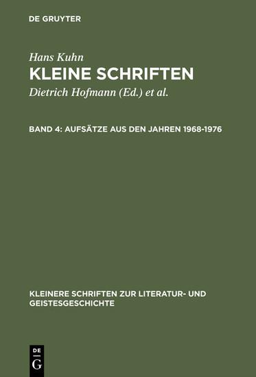 Aufsätze aus den Jahren 1968-1976 - Blick ins Buch