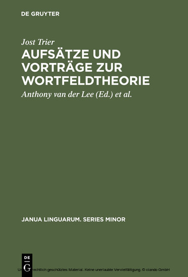 Aufsätze und Vorträge zur Wortfeldtheorie - Blick ins Buch