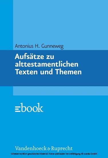 Aufsätze zu alttestamentlichen Texten und Themen - Blick ins Buch