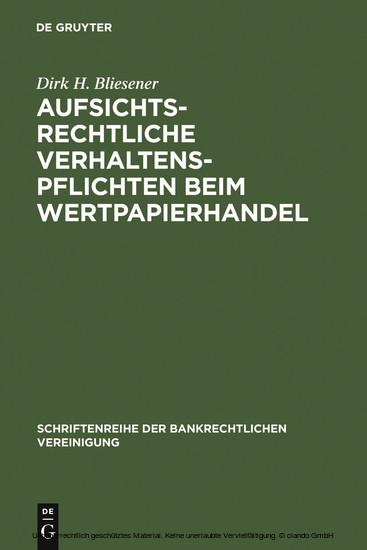 Aufsichtsrechtliche Verhaltenspflichten beim Wertpapierhandel - Blick ins Buch