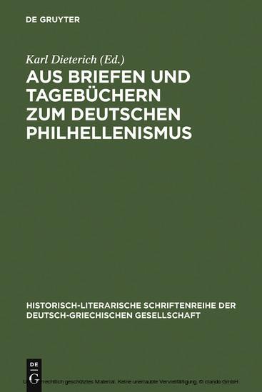 Aus Briefen und Tagebüchern zum deutschen Philhellenismus - Blick ins Buch