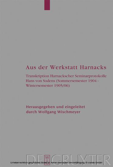 Aus der Werkstatt Harnacks - Blick ins Buch