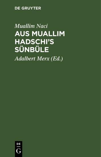 Aus Muallim Hadschi's Sünbüle - Blick ins Buch