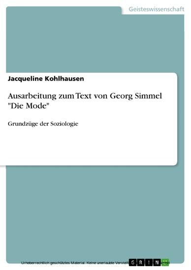 Ausarbeitung zum Text von Georg Simmel 'Die Mode' - Blick ins Buch