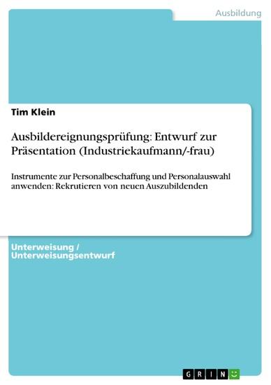 Ausbildereignungsprüfung: Entwurf zur Präsentation (Industriekaufmann/-frau) - Blick ins Buch
