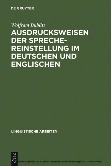 Ausdrucksweisen der Sprechereinstellung im Deutschen und Englischen - Blick ins Buch