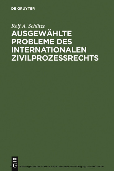 Ausgewählte Probleme des internationalen Zivilprozessrechts - Blick ins Buch
