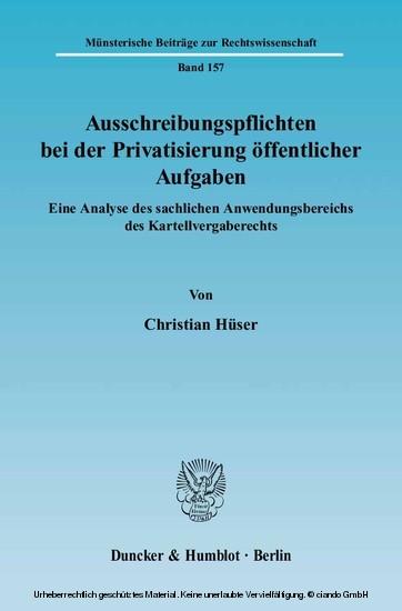 Ausschreibungspflichten bei der Privatisierung öffentlicher Aufgaben. - Blick ins Buch