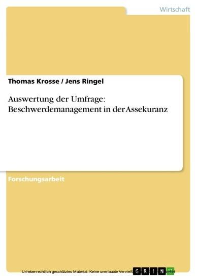 Auswertung der Umfrage: Beschwerdemanagement in der Assekuranz - Blick ins Buch