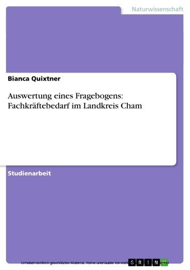 Auswertung eines Fragebogens: Fachkräftebedarf im Landkreis Cham - Blick ins Buch