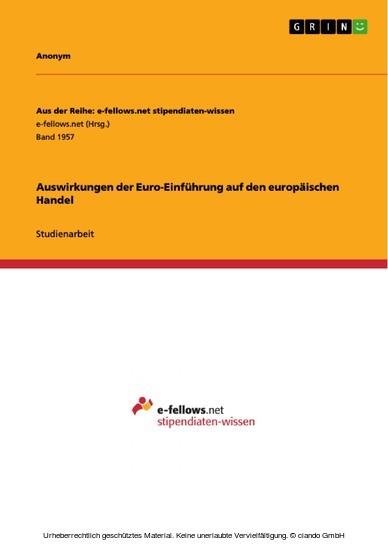Auswirkungen der Euro-Einführung auf den europäischen Handel - Blick ins Buch