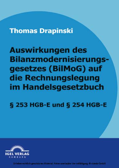 Auswirkungen des Bilanzmodernisierungsgesetzes (BilMoG) auf die Rechnungslegung im Handelsgesetzbuch - Blick ins Buch