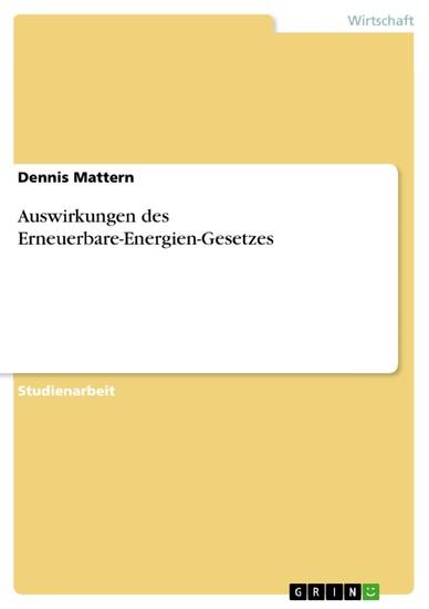 Auswirkungen des Erneuerbare-Energien-Gesetzes - Blick ins Buch