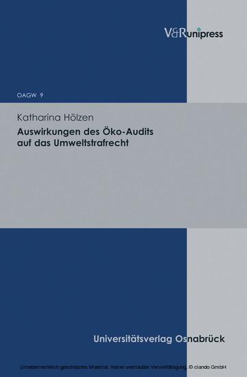 Auswirkungen des Öko-Audits auf das Umweltstrafrecht - Blick ins Buch