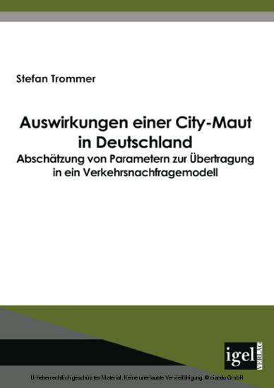 Auswirkungen einer City-Maut in Deutschland - Blick ins Buch