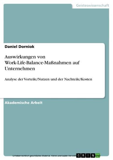 Auswirkungen von Work-Life-Balance-Maßnahmen auf Unternehmen - Blick ins Buch