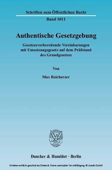 Authentische Gesetzgebung. - Blick ins Buch