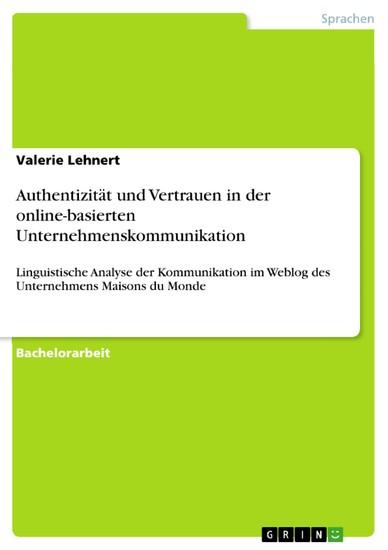 Authentizität und Vertrauen in der online-basierten Unternehmenskommunikation - Blick ins Buch