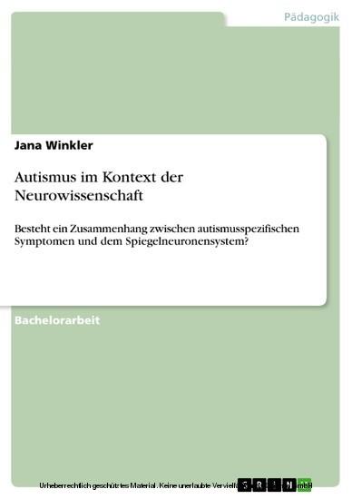 Autismus im Kontext der Neurowissenschaft - Blick ins Buch