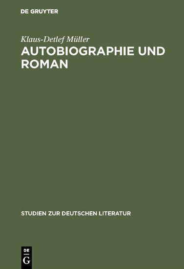Autobiographie und Roman - Blick ins Buch