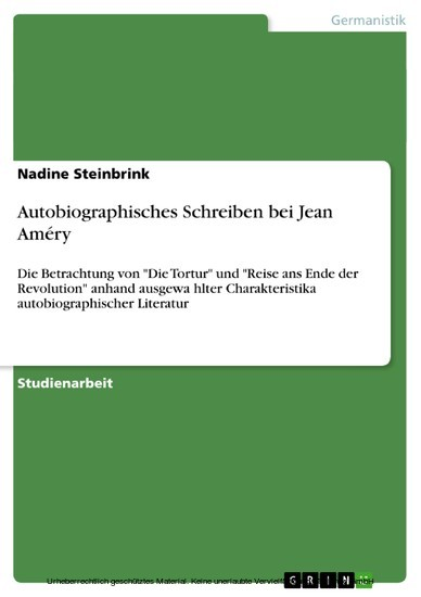Autobiographisches Schreiben bei Jean Améry - Blick ins Buch