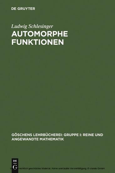 Automorphe Funktionen - Blick ins Buch